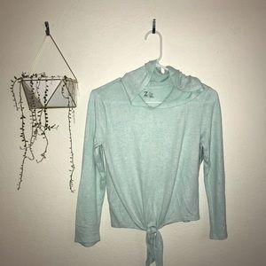 Zella Tie Waist Hooded Long Sleeve Shirt